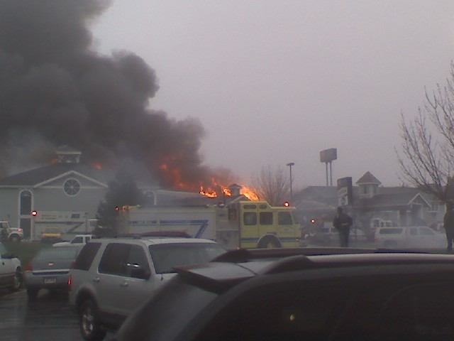 It almost looks like the fire truck is on fire