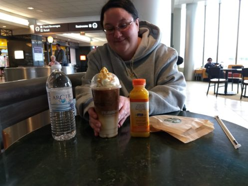 This is how my wife deals with stress, three drinks from Starbucks.